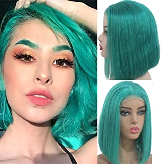 Myfashionhair Affordable Wigs Silky Straight Good Quality Wigs 8 inch 180% Density Affordable Lace Front Wigs with 13x4 Swiss Lace and Adjustable Cap, Pre Plucked Human Hair Wigs (Lake Blue)