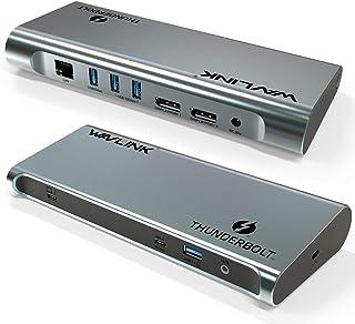 WAVLINK Dual 4K DisplayPort Thunderbolt 3 Docking Station with 60W Charging,Dual DisplayPort 1.4, 3xUSB 3.1, 2 xUSB 3.0, G...