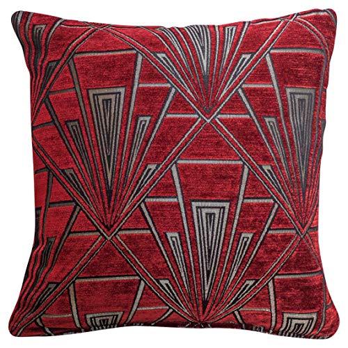 Funda de cojín Art Deco. Chenilla de terciopelo de doble cara. Diseño retro, color rojo y plateado. Almohada cuadrada de 17 x 17 pulgadas. Diseño geométrico atrevido. Estilo 20s y 30s.
