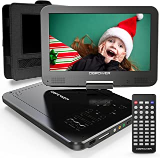 """DBPOWER 12"""" Portable DVD Player with 5-Hour Rechargeable Battery, 10"""" Swivel Display Screen, SD Card Slot and USB Port, wi..."""