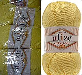 50% Cotton 50% Acrylic Soft Yarn for Baby Blanket Alize Cotton Baby Soft Crochet Lace Embroidery Art Craft Sewing Kit Hand Knitting Yarn Lot of 4skn 400gr 1180yds Color Light Yellow 643