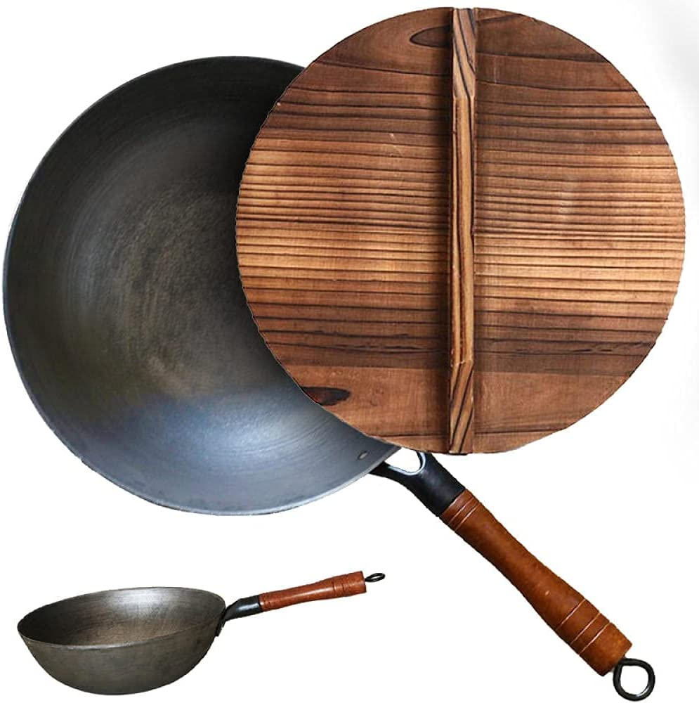 wok cooking Limited time sale pan Best Wok with New arrival 12inch Wooden No Transfo Lid 100%