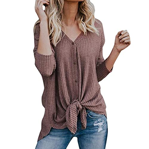 9315daa742fd5 Halife Womens Waffle Knit Tunic Blouse Long Sleeve Button Down Henley Shirts  Loose Tie Front Tops