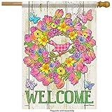 jiaxingdalin Accents à la Maison Drapeau Tendances 48796 Bienvenue Couronne de Fleurs Floral Classique Extérieur Grand Drapeau de Jardin Taille 12.5 'X18'