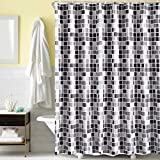 Tian Home Fabric Shower Curtain with 12 Hooks, Waterproof and Bottom's Weighted (Mosaic)