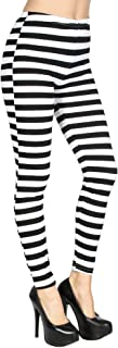 Women's Black & White Stripes Footless Ankle Length Leggings