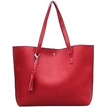 Nodykka Women Tote Bags Top Handle Satchel Handbags PU Pebbled Leather  Tassel Shoulder Purse 640a572d0ad4e