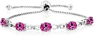 925 Sterling Silver Created Sapphire and Diamond Adjustable Tennis Bracelet, 4.50 Cttw