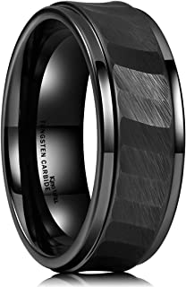 Hammer 8mm Black/Silver Tungsten Carbide Ring Hammered Brushed Mens Wedding Band Comfort Fit