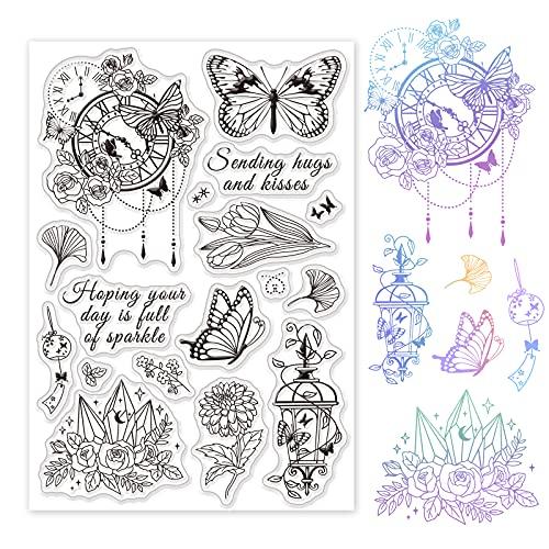 GLOBLELAND Flying Butterfly Clear Stempels Siliconen Stempel Seal Transparante Zegels voor Kaarten Maken en DIY Scrapbooking Fotoalbum Decoratie