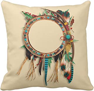Emvency Throw Pillow Cover Brown Western Southwest Native Turquoise Bow Arrow Indian Decorative Pillow Case Home Decor Square 18 x 18 Inch Pillowcase