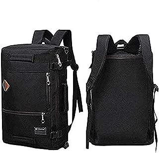 Men Canvas Backpack Travel Bag Hiking Bag Camping Rucksack Black 21 inch (Black)