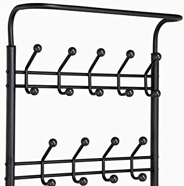 Yaheetech Coat Rack with 3-Tier Shoe Bench, 3-in-1 Hall Tree Coat Hat Umbrella Rack with 18 Hooks for Entryway, Multifunction