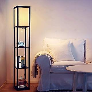 Albrillo Lampadaire en bois - Design Lampe sur Pied avec 3 Niveaux Etagères und E27 Base, Max. 60W Ampoule und Clip de fi...