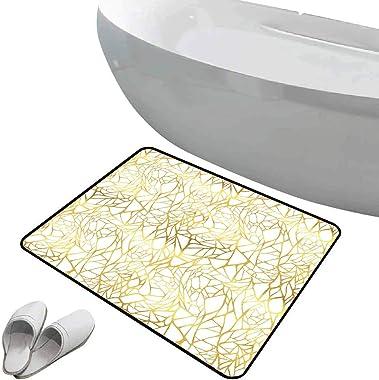 Tapis de bain antidérapant Paillasson Contemporain sol antidérapant en caoutchouc Modèle de motif animal exotique abstrait or
