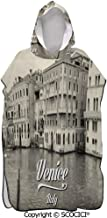 PUYANG Old Photo of Venice Italian City Vintage Filter Effect and Lettering Surf Beach Poncho Wetsuit Changing Towel Bath Robe Poncho with Hood for Surfing Swimming Bathing Men Women One Size Fit All