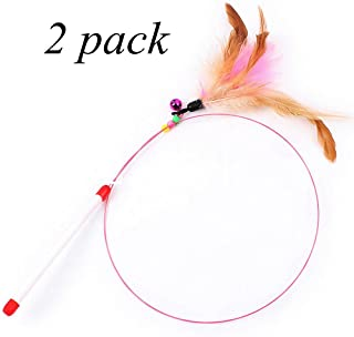 Fishfly Cat Teaser Cat Wire Dangler Wand Toys with Beads Bells and Feather Interactive