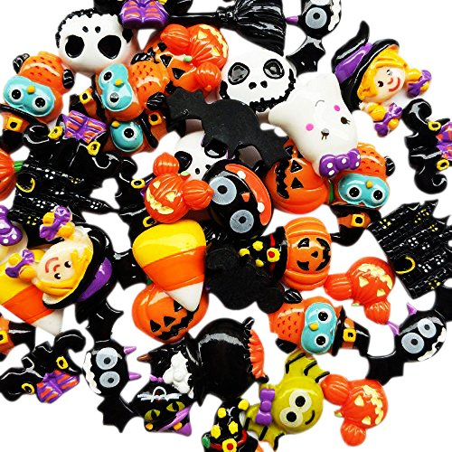 84c751c6a Chenkou Craft Random 20pcs Mix Lots Resin Flatback Flat Back Halloween  Craft Embellishment Wizard Pumpkin Lantern