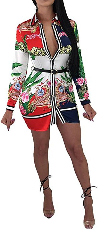Women's Vintage Chain Floral Print Button Down Long Sleeve Shirt Dress Blouse Top