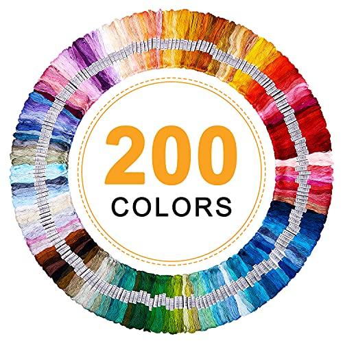 Hilos Punto de Cruz, Vibeey Hilo Bordar 200 Madejas color arco iris Hilo para Pulseras de Amistad, Hilo de Bordar con Algodón para Punto de Cruz Manualidades, Hilo de Pulsera, kit de Hilos de Bordado