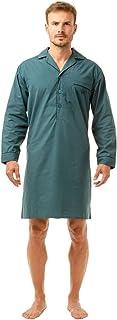 Haigman Mens Button Front Nightshirt Lightweight Poly Cotton Size Medium to 2XL