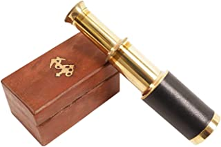 Mini Pirate Spyglass Telescope with Wooden Box - Black Colour 6