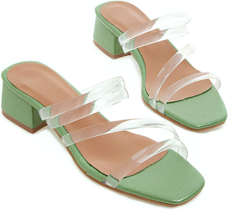 Women's Clear Strappy Slide Sandals Sqaure Toe Block Low Heel Mule Open Back Slip On Slides