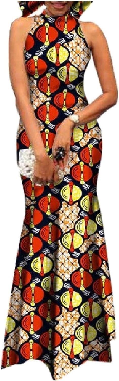 Coolred Women's Premium Sleeveless African Wax Fabric Dashiki Dresses