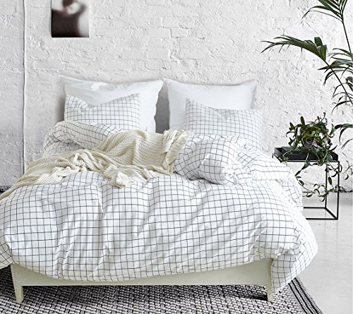 Lanqinglv Double Duvet Cover Set Black and White Checkered Grid Pattern Bedding Set 100% Hypoallergenic Microfiber Quilt Cover and 2 Pillowcases (4562,Double)…