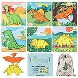 Gobesty Montessori - Puzzle de madera para niños, 6 piezas, puzle de madera para niños, 3D, juguete preescolar para niños de 2 a 6 años (dinosaurio de dinosaurio)