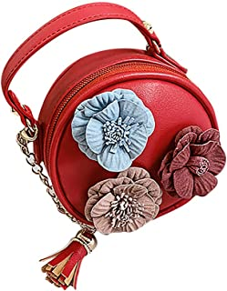 Wultia - Bags for Women 2019 WChildren Flowers Leather Circular Bag Flower Tassels Shoulder Messenger Bag Bolsa Feminina Red