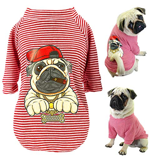 BHNDALB Niedliche Hundekleidung Für Kleine Hunde Katzen Mops Bulldogge Chihuahua Baumwolle Haustierkleidung WelpenhemdSommer Hund Weste T-Shirts
