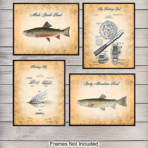 Trout, Rod, Reel and Fly Fishing Wall Art Decor Set - Vintage Poster Prints are Unique Gift for Fishermen, Fisherman - Retro Country Shabby Chic Style - Set of Four 8x10 Unframed Photo Pictures