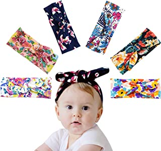 Children Headband, Soft Stretchy Nylon Material Printing Children Bowknot Knotted Headband Simple and Cute for Newborn Toddler Baby Kids, Perfect for Birthdays, Baby Shower, Baby Photography(6Pcs)
