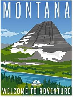 EzPosterPrints - Retro USA States Travel Poster Series- Poster Printing - Wall Art Print for Home Office Decor - Montana - 24X32 inches