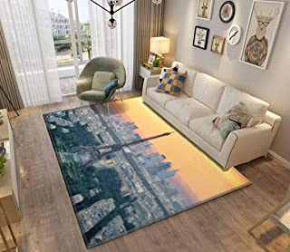 Area Rug and Carpet for Home Living Room, sunset over paris oil painting landscapes and pictures Large Anti Slip Contempor...