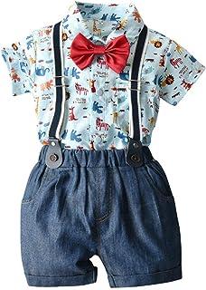 HOSUKKO Baby Boy Clothes Outfit, Onesie & Jeans & Bow Tie & Suspenders, Infant Boys' Pants Sets for Dress Up (4 pcs, 0-5T)