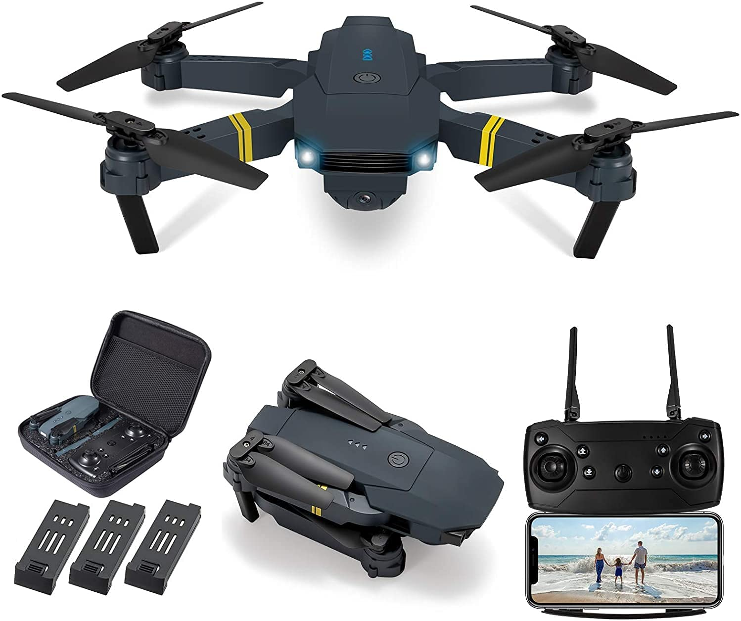 LOYALSE E58 Drone with Camera for Adults/Kids Foldable RC Quadcopter Drone with 1080P HD Camera, WiFi FPV Live Video, Altitude Hold, One Key Take Off/Landing, 3D Flip, APP Control (3Pcs Batteries)