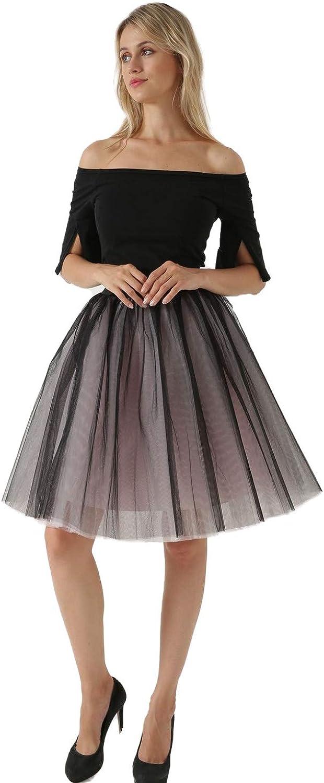 NC Women's Mesh Pleated Fluffy Midi Skirt 5 Layer A-line Skirt Tulle Skirt (Black +Pink, Medium)