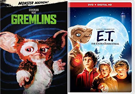 Cute Alien Critters from Outer Space Stephen Spielberg E.T. The Extra Terrestrial & Gremlins DVD Mayhem Family Fantasy Movie Bundle Double Feature Sci-Fi Set