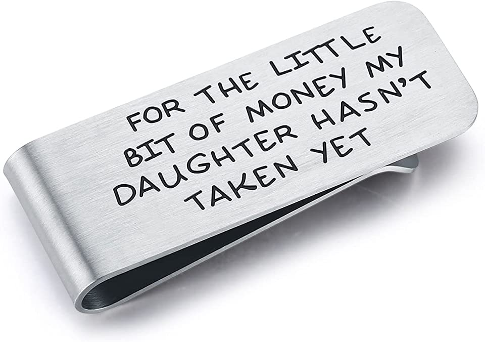 Money Clip,Dad Gifts from Daughter,Metal Cash Clip,Stainless Steel Metal Slim Money Clips,Slim Stainless Steel Credit Card Holder,Money Holder,Anniversary Gift,Father's Day Gift,Birthday Gifts