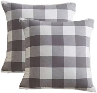Pack Of 2,Buffalo Checker Plaids Cotton Soft And Comfortable Throw Pillow Cover Cushion Case For Sofa Bedding Room 18inche...