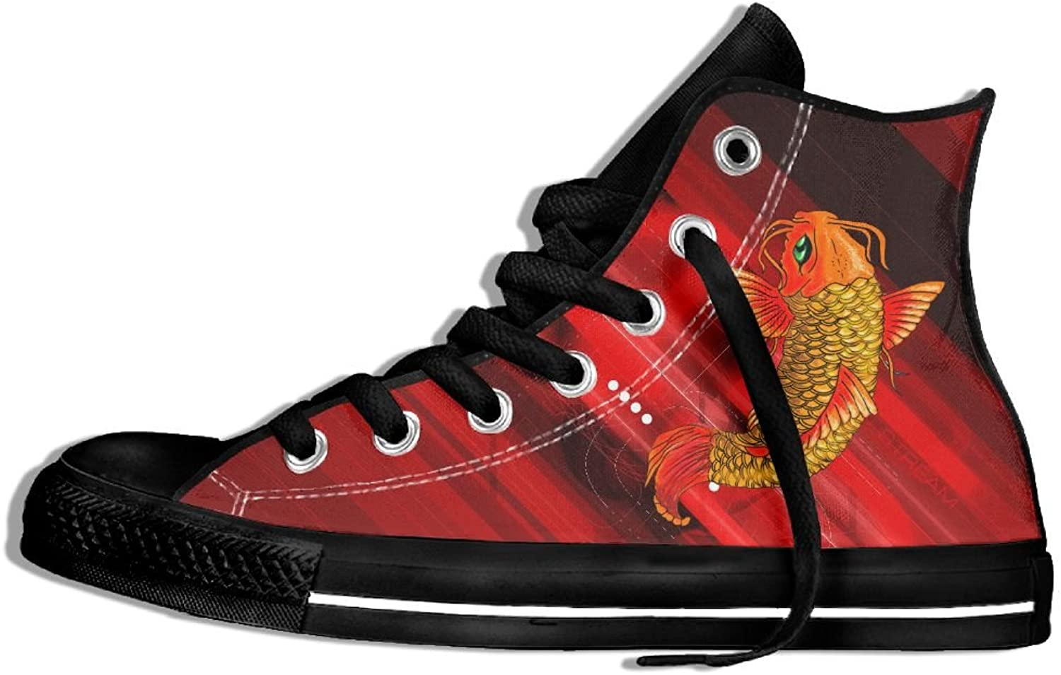 Fish Traditional Asian Carp High Top Classic Casual Canvas Fashion shoes Sneakers For Women & Men