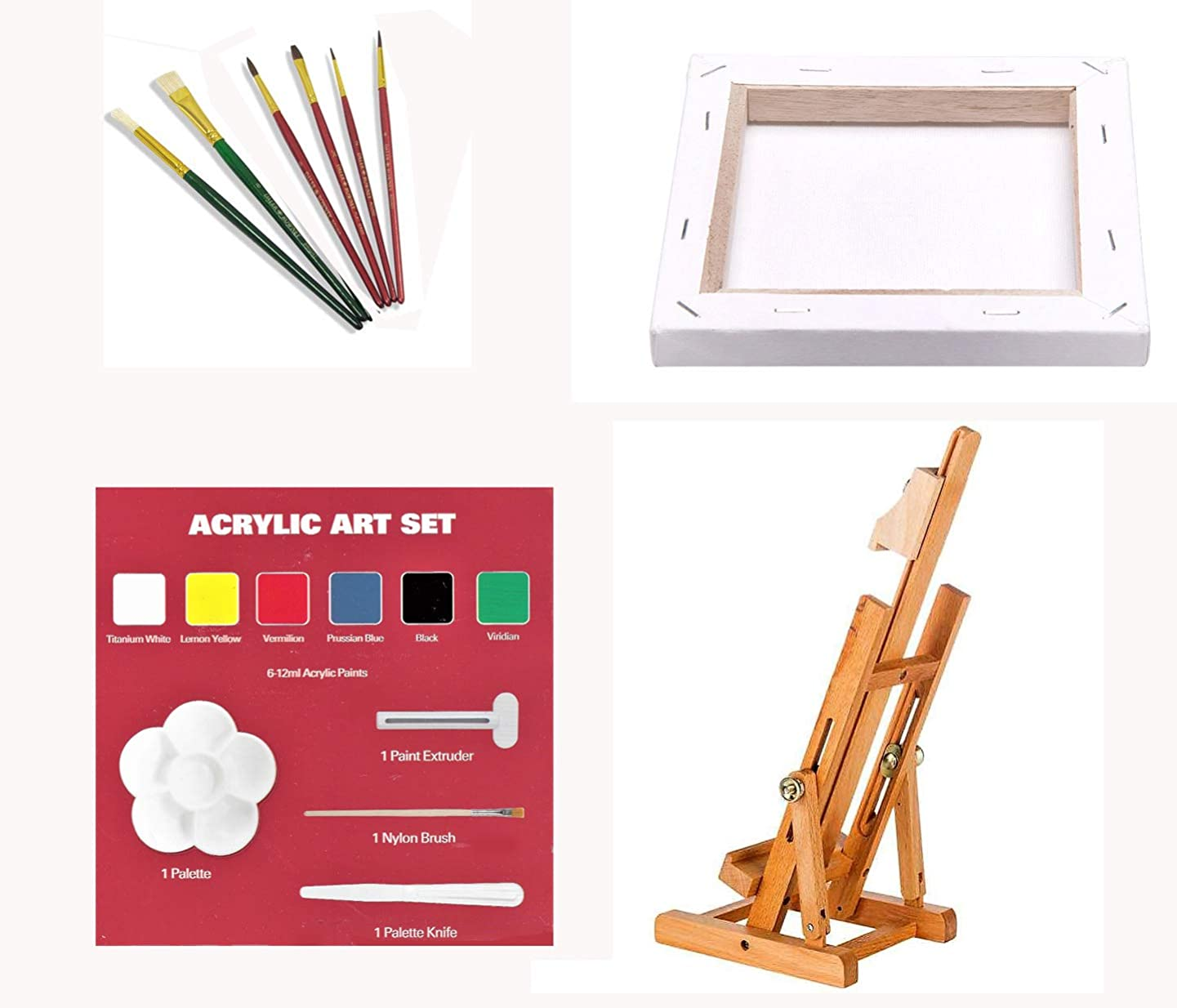 Beechwood Table/Travel Easel with Canvas, Acrylic Paint Tubes, Mixed Artist Brushes, Color Mixing Guide, Mixing Tray and More