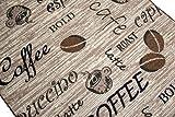 Teppich Modern Flachgewebe Gel Läufer Küchenteppich Küchenläufer Braun Beige Schwarz mit Schriftzug Coffee Cappuccino Espresso Latte Größe 80×150 cm - 3