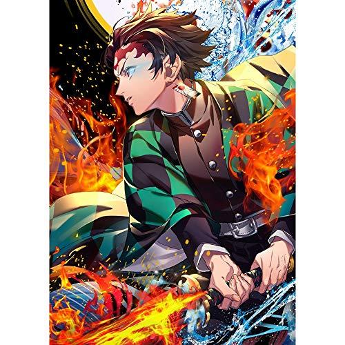 Dovance Taladro Cuadrado Completo Demon Slayer Kimetsu No Yaiba Diamante 5D Pintura de Bordado Anime japonés Imagen de Punto de Cruz Art Deco de Pared (Cuadrado 30x40cm)