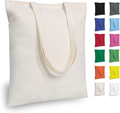 TOPDesign Economical Cotton Tote Bag, 5oz Lightweight Fabric, Reusable Grocery Shopping Cloth Bags, DIY Your Creative Designs