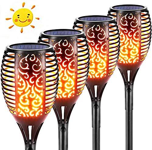 Solar Flammenlicht, Jior 96 Led Solarleuchte Garten Fackeln mit Realistischen Flammen, Ip65 Wasserdicht, für Garten, Terrasse, Rasen, Hinterhöfe, Wege und Innenhöfe