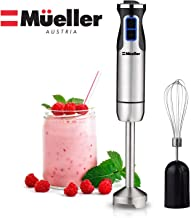 Mueller Austria 1 001 Ultra-Stick 500 Watt 9-Speed Immersion Multi-Purpose Hand Blender Heavy Duty Copper Motor Brushed Stainless Steel Finish Includes Whisk Attachment, normal, Silver