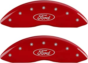 MGP Caliper Covers 10239SFRDRD Red Powder Coat Finish Front and Rear Caliper Cover, Set of 4 (Oval logo/Ford Silver Characters, Engraved)
